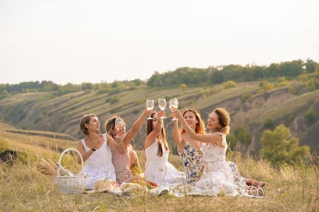 Gezelschap van vrouwelijke vrienden geniet van een zomerpicknick en hef glazen met wijn
