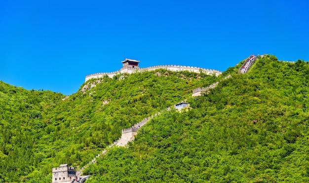 Gezicht op de chinese muur in juyongguan - peking