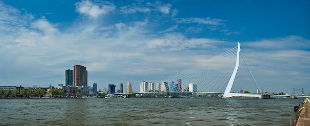 Gezicht op rotterdam over nieuwe maas met erasmusbrug brug rottherdam nederland
