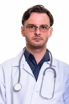 Gezicht van man arts met bril poseren