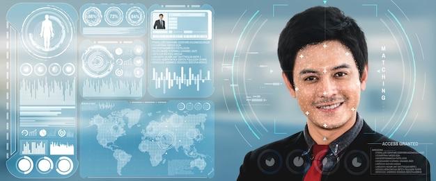 Gezichtsherkenningstechnologie scant en detecteert het gezicht van mensen voor identificatie