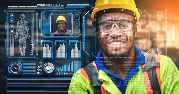 Gezichtsherkenningstechnologie voor industriële werknemers om toegang te krijgen tot machinebesturing