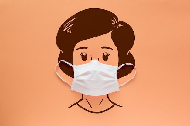 Gezichtsmasker op het gezicht van een getekend vrouw op een zalm achtergrond