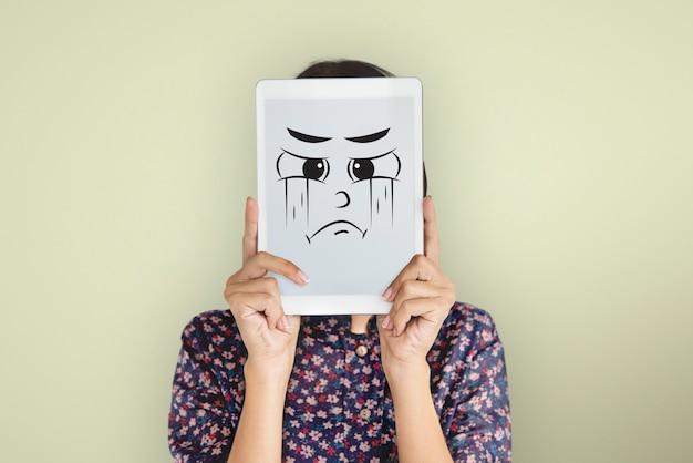 Gezichtsuitdrukking emotionele mensen concept Gratis Foto