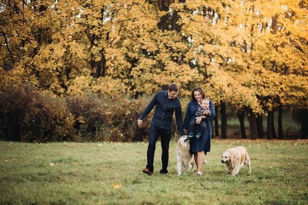 Gezin met een kind en twee gouden retrievers in een herfst park