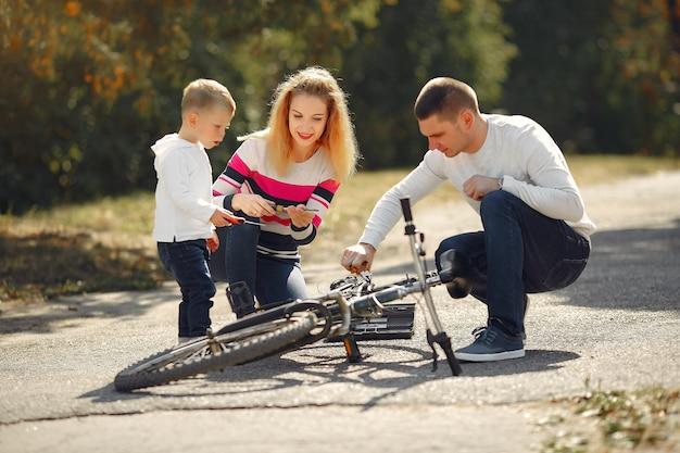 Gezin met zoon repareren de fiets in een park
