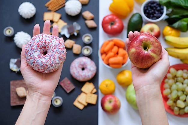 Gezond en ongezond voedselconcept