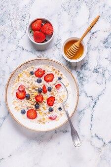 Gezond ontbijt, kom met havergranola, melk en bessen, bovenaanzicht.