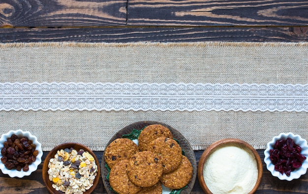 Gezond ontbijt met ontbijtgranen koekjes