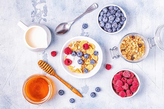 Gezond ontbijt, muesli, ontbijtgranen met fruit, bovenaanzicht.