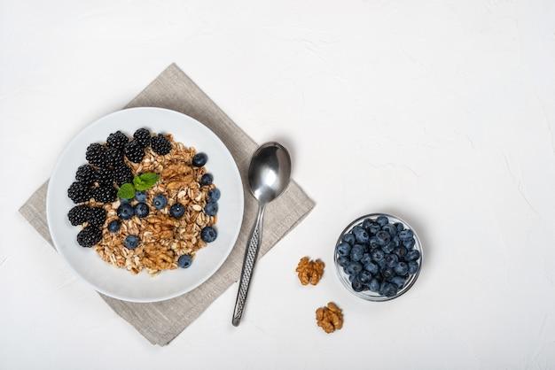 Gezond ontbijt. zelfgemaakte muesli, muesli, ontbijtgranen met bramen, bosbessen, noten, honing en munt in een witte kom