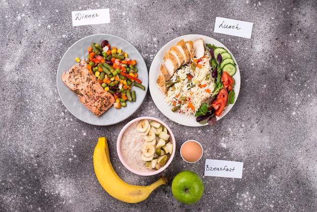 Gezond uitgebalanceerd menu voor de dag
