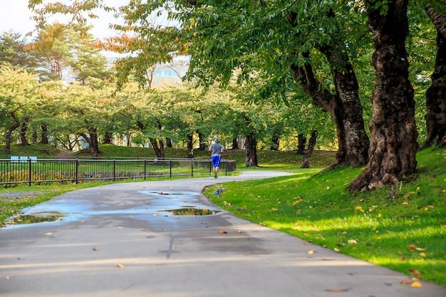 Gezond van aziatische sport man joggen in het park. concept van ontspanning.