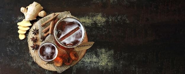Gezonde gefermenteerde drank kombucha