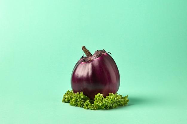 Gezonde groene biologische rauwe groenten aubergine met slablad op een groene pastel achtergrond met kopieerruimte. vegetarische natuurlijke biologische ingrediënten voor soep.