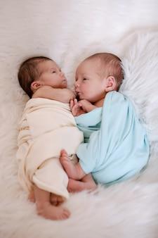 Gezonde levensstijl, ivf - twee pasgeboren baby's slapen