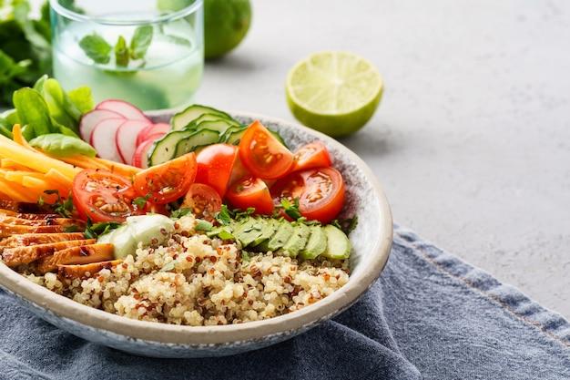 Gezonde lunchkom met kip, avocado en quinoa.