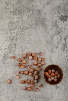 Gezonde macadamia noten in de dop op een stenen achtergrond.