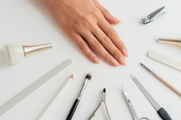 Gezonde mooie manicure en gereedschappen