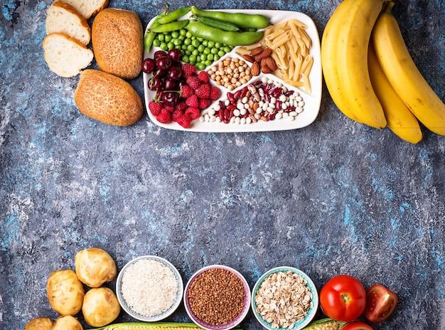 Gezonde producten bronnen van koolhydraten.