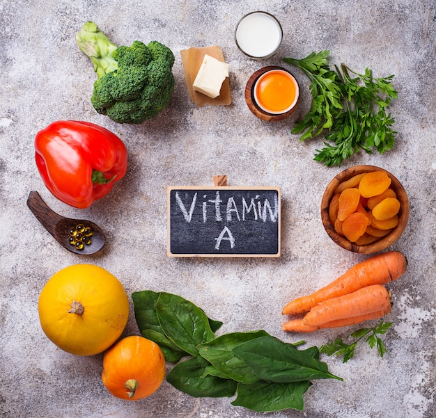 Gezonde producten rijk aan vitamine a