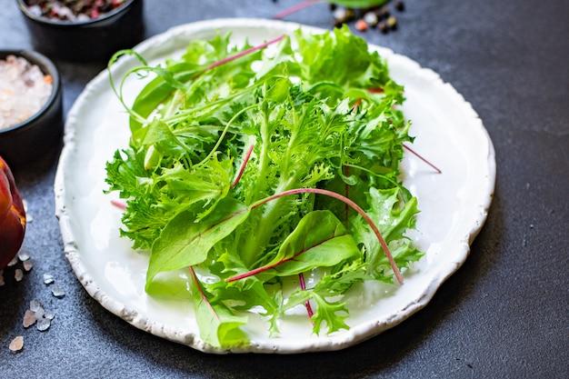 Gezonde salade bladeren mix salade micro greens natuurlijk product
