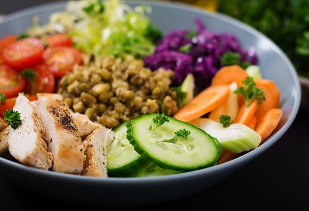 Gezonde salade met kip, tomaten, komkommer, sla, wortel, selderij, rode kool en mungboon op donkere tafel.