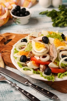 Gezonde salade van biologische sla met kip, tomaten, eieren, zwarte olijven en witte uien