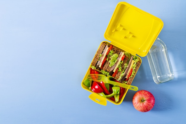 Gezonde school lunchbox met rundvlees sandwich en verse groenten, fles water en fruit op blauwe tafel. bovenaanzicht. plat liggen