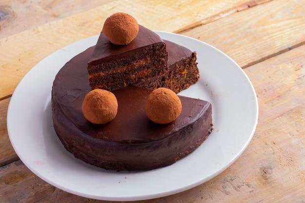 Gezonde veganistische chocoladetaart