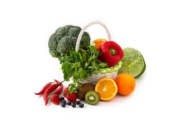Gezonde voeding, fruit en groenten geïsoleerd