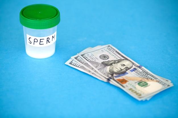 Gezondheid. sluit omhoog concept banksperma. onvruchtbaarheidsbank met sperma. sperma analyse