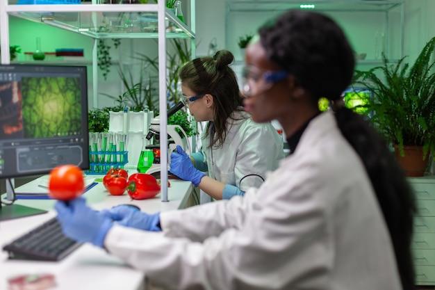Gezondheidschemicus die een monster van veganistisch vlees controleert en door de microscoop kijkt na een scheikunde-experiment