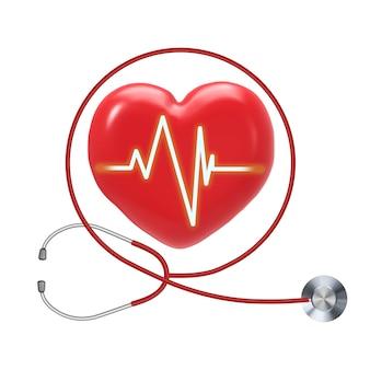 Gezondheidscontrole met rode hartvorm en stethoscoop