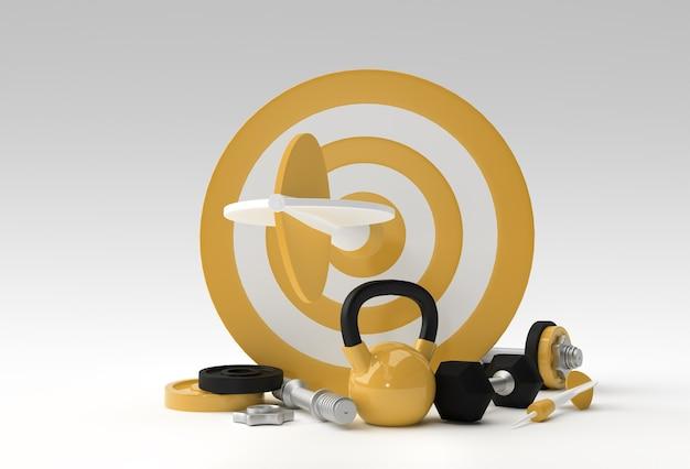 Gezondheidsdoel target met pijl geluk, fitness, gym, gezond, motiverend 3d-ontwerp.