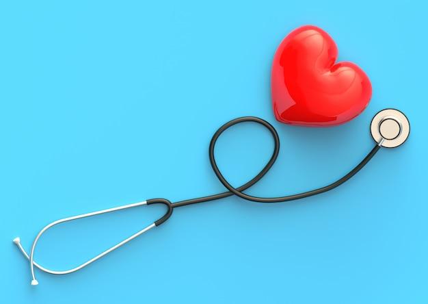Gezondheidsexamen met rood hart en stethoscoop gezondheidszorgconcept. bovenaanzicht van medische apparatuur voor de behandeling van ziekten