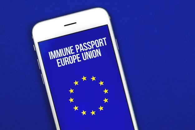 Gezondheidspaspoort van de europese unie digitaal document, immuunpaspoort, covid-19-testfoto