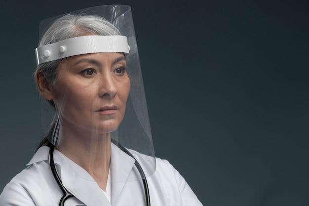 Gezondheidswerker met exemplaarruimte