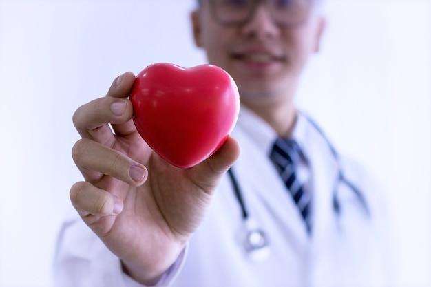 Gezondheidszorg concept; professionele medische arts die een rode hartbal houdt.