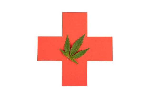 Gezondheidszorg teken en cannabis blad geïsoleerd op een witte achtergrond, medische marihuana.