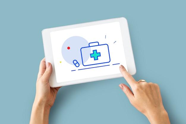 Gezondheidszorg wellness welzijn ehbo-doos word graphic