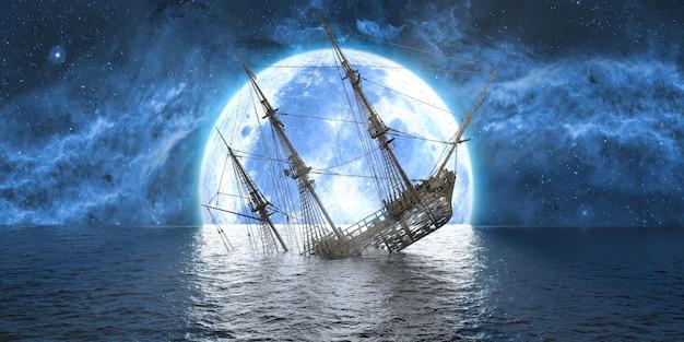 Gezonken schip op de achtergrond van een grote volle maan, 3d illustratie