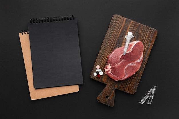 Ggo-gemodificeerd vlees plat gelegd