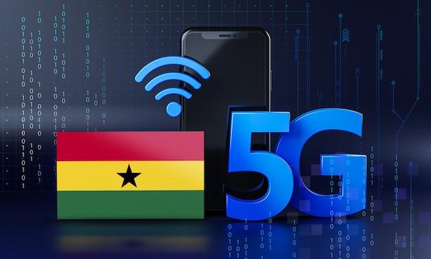 Ghana klaar voor 5g-verbindingsconcept. 3d-rendering smartphone technische achtergrond