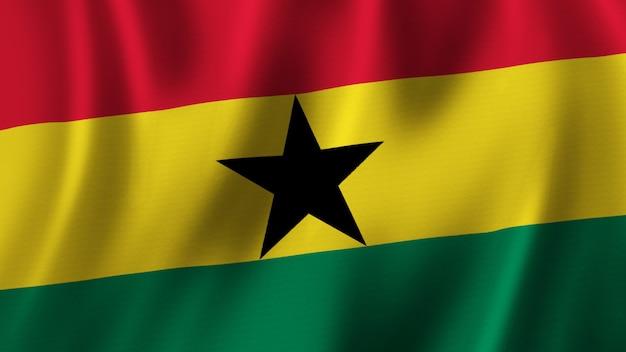 Ghana vlag zwaaien close-up 3d-rendering met afbeelding van hoge kwaliteit met stof textuur