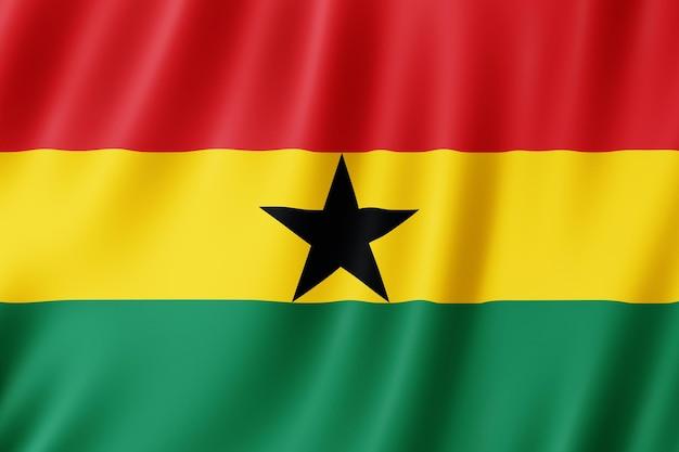 Ghana vlag zwaaien in de wind.