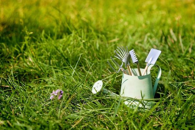 Gieter en tuinhulpmiddelen op gras in de zomer