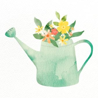 Gieter met bloemen ontwerpelement