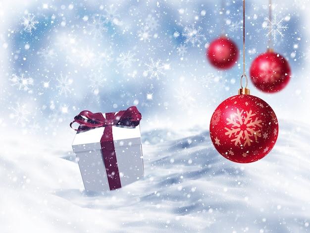 Gift 3d kerst genesteld in de sneeuw met opknoping snuisterijen