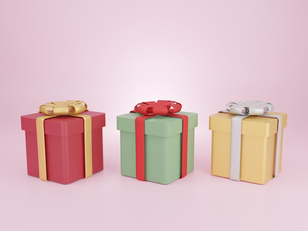 Gift boxes for christmas new years day geschenkdozen op roze achtergrond d rendering